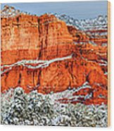 Courthouse Butte And Bell Rock Under Snow Wood Print