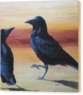 Courting Crows Wood Print