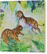 Courting Tigers. Wood Print by Larry  Johnson