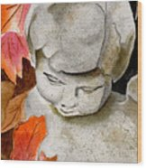 Courtyard Cherub Wood Print