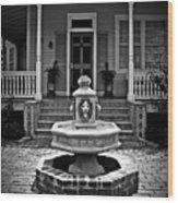 Courtyard Fountain Wood Print