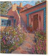Courtyard Garden In Taos Wood Print
