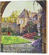 Courtyard Impressions Provence Wood Print by David Lloyd Glover