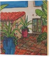Courtyard In Rancho Santa Fe Wood Print