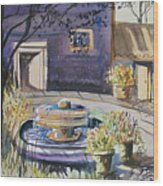 Courtyard In The Morning Wood Print