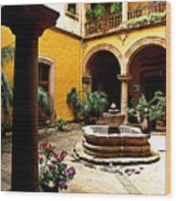 Courtyard Off The Cafe Wood Print