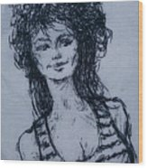Cove Girl With Striped Shirt Wood Print