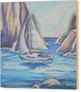 Cove Sailing Wood Print