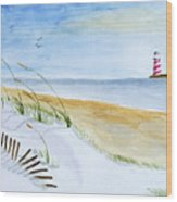 Cove With Lighthouse Wood Print