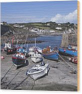 Coverack Harbour Cornwall Wood Print