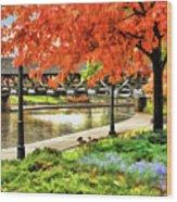 Covered Bridge Along Riverwalk Wood Print