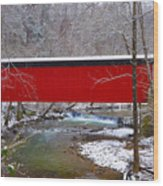 Covered Bridge Along The Wissahickon Creek Wood Print