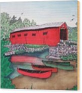 Covered Bridge And Canoes Wood Print