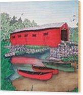Covered Bridge and Canoes Wood Print