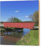 Covered Bridge And Reflection Wood Print