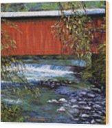 Covered Bridge And  Wissahickon Creek Wood Print by Joyce A Guariglia