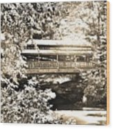 Covered Bridge At Lanterman's Mill Black And White Wood Print