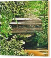 Covered Bridge At Lanterman's Mill Wood Print