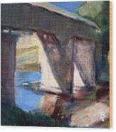 Covered Bridge At Low Water Wood Print