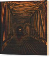 Covered Bridge Illumination Wood Print