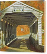 Covered Bridge Impasto Oil Wood Print