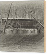 Covered Bridge In Black And White Wood Print