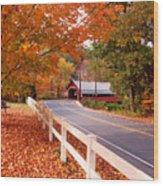 Covered Bridge In Brattleboro Vt Wood Print