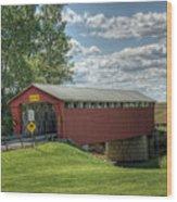 Covered Bridge In Ohio Wood Print by Pamela Baker