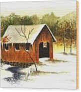 Covered Bridge In The Snow Wood Print