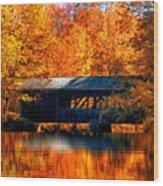 Covered Bridge Wood Print by Joann Vitali