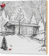 Covered Bridge Wood Print