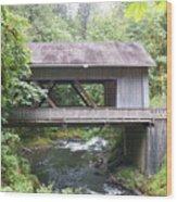 Covered Bridge Of Cedar Creek Wood Print