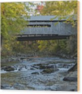 Covered Bridge Over Brown River Wood Print
