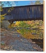Covered Bridge Over The Cold River Wood Print