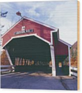 Covered Bridge Over The Ellis River Wood Print