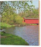 Covered Bridge Over The Lake Wood Print