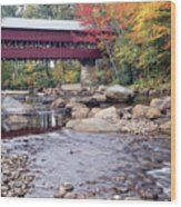 Covered Bridge Over The Swift River  Wood Print