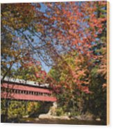 Covered Bridge Over The Swift River In Conway Wood Print