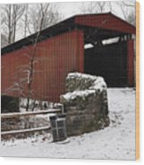 Covered Bridge Over The Wissahickon Creek Wood Print by Bill Cannon