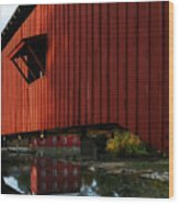 Covered Bridge Reflections Wood Print
