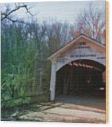 Covered Bridge Turkey Run Wood Print