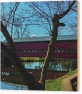 Covered Bridge Vivid Afternoon Wood Print