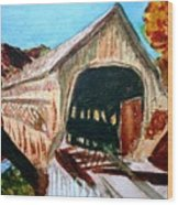 Covered Bridge Woodstock Vt Wood Print