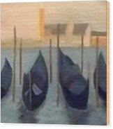 Covered Gondolas At Venice Wood Print