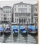 Covered Gondolas In Blue Wood Print