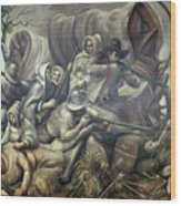 Covered Wagon Attacked By Indians Wood Print