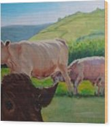 Cow And Calf Painting Wood Print