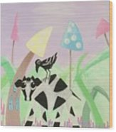 Cow And Crow In The Land Of Mushrooms Wood Print