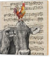 Cow And Rooster Wood Print