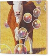 Cow Bubbles Wood Print